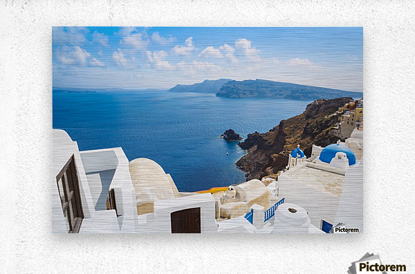 Santorini Island, Greece, Beautiful View of Blue Ocean and Traditional Dome Church Architecture  Metal print