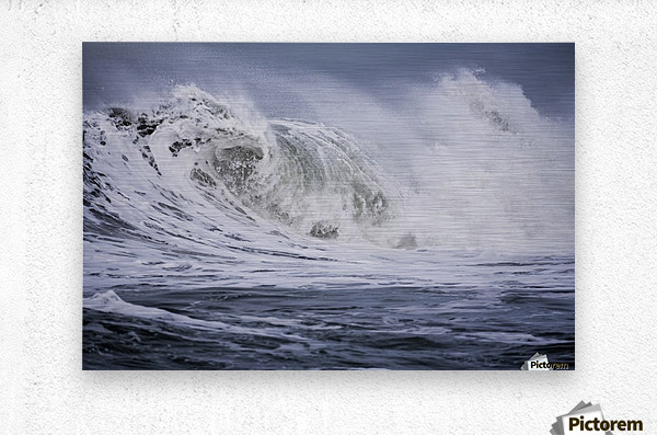 A large wave breaks on a stormy morning; Seaside, Oregon, United States of America  Metal print