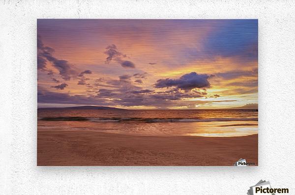 Sunset on Hawaii Beach  Metal print