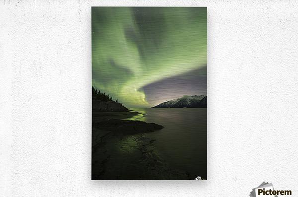 Aurora Borealis dancing above the Chugach Mountains and Turnagain Arm, Kenai Peninsula, Southcentral, Alaska  Metal print