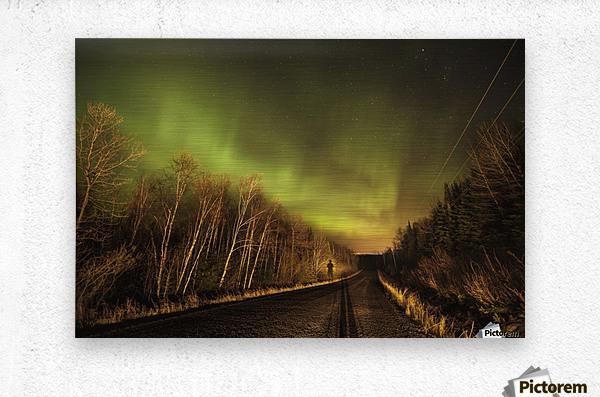 Aurora borealis over road; Thunder Bay, Ontario, Canada  Metal print