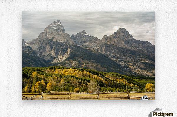 Grand Teton range in autumn, Grand Teton National Park; Wyoming, United States of America  Metal print