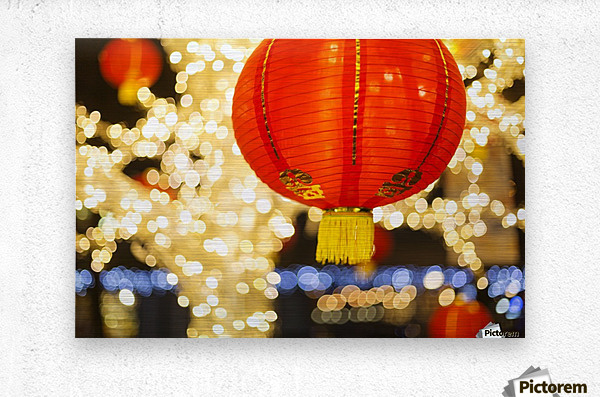 Red and gold Chinese lantern with sparkling white lights in the background, Granville Island; Vancouver, British Columbia, Canada  Metal print