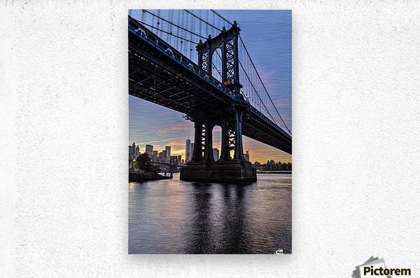 Manhattan Bridge and NYC skyline at sunset, Brooklyn Bridge Park; Brooklyn, New York, United States of America  Metal print