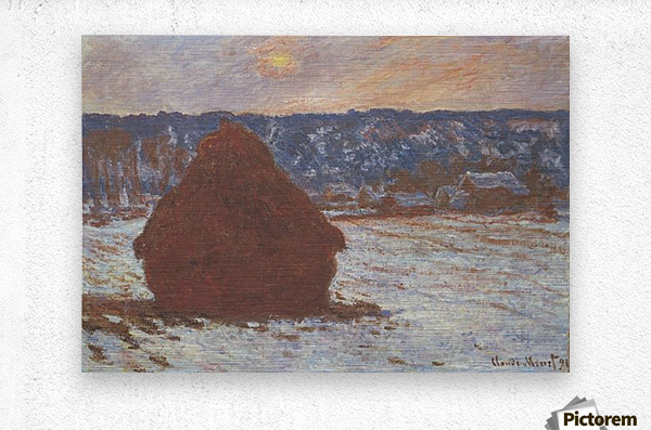 Haystacks, snow, covered the sky by Monet  Metal print