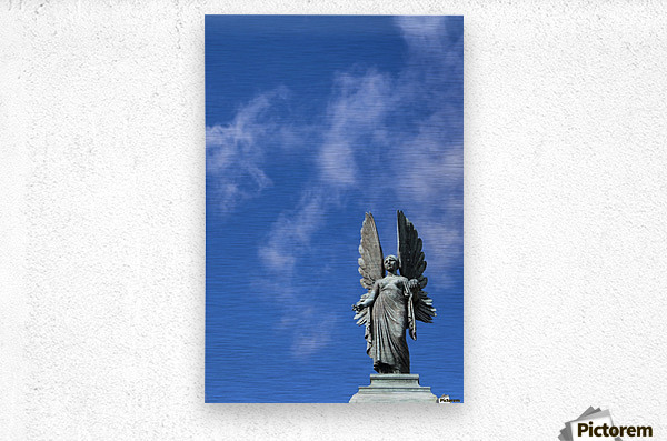 Angel overlooking Parade Gardens; Bath, Somerset, England  Metal print