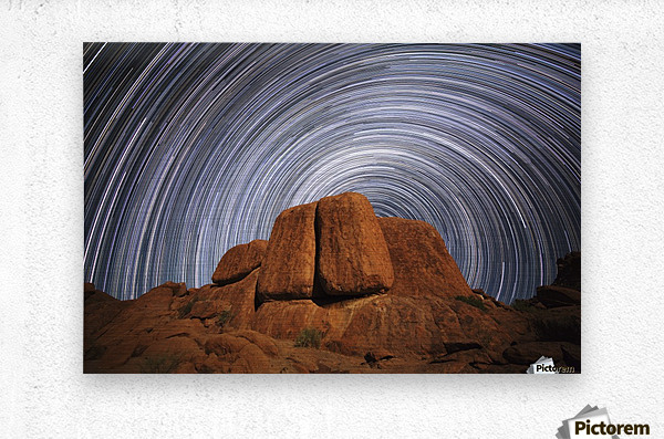 Star trails above a large boulder in Richtersveld National Park; South Africa  Metal print