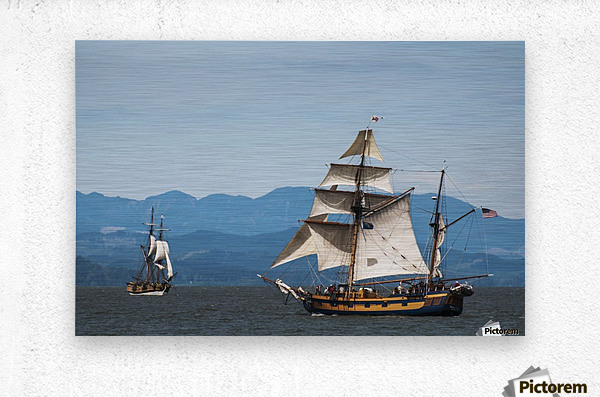 Tall ships sail on the Columbia River near Astoria; Oregon, United States of America  Metal print