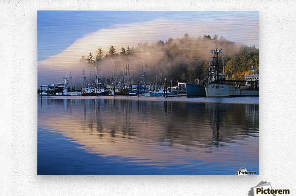 Boats dock at Winchester Bay; Oregon, United States of America  Metal print