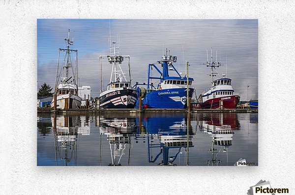 Fishing boats moored at the dock; Warrenton, Oregon, United States of America  Metal print