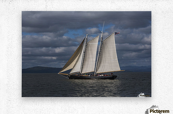 A large sailboat sails down the Columbia River; Astoria, Oregon, United States of America  Metal print