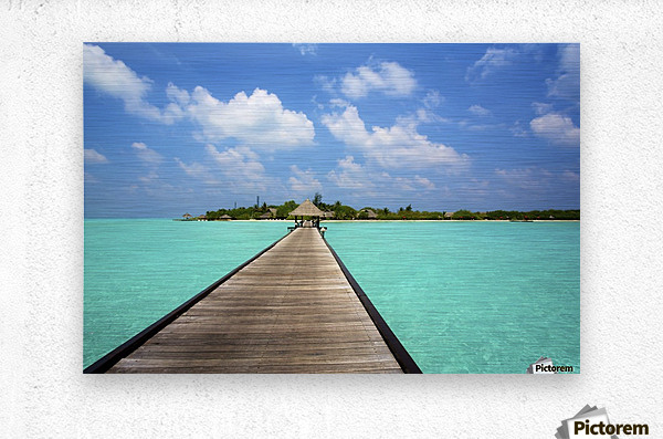 Jetty with cabana over crystal clear turquoise sea, Maldives  Metal print