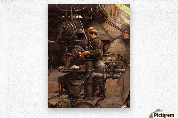 Father and son working  Metal print