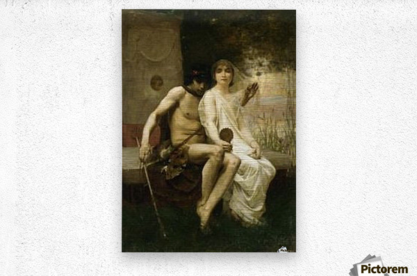 Eros and a young couple  Metal print