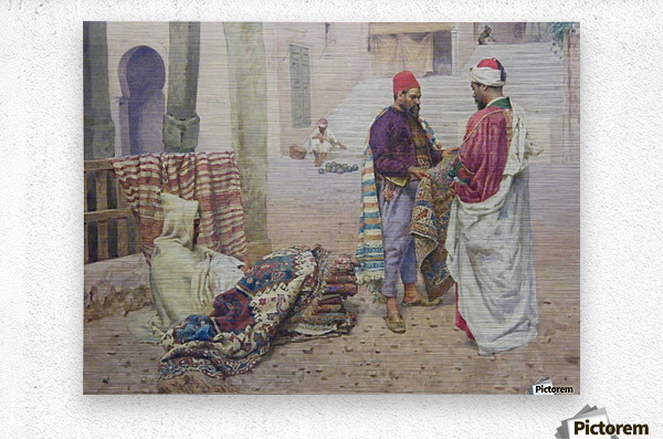 Selling carpets in the market  Metal print
