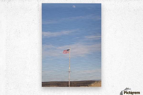 Moon and American Flag over Fort Craig VP1  Metal print