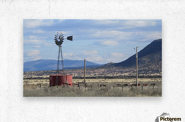 Windmill and Mountains VP1  Metal print