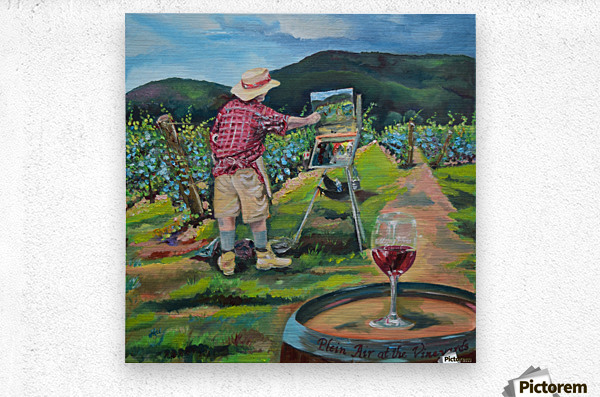 We Paint with Wine- Plein Air in the Vineyard  Metal print