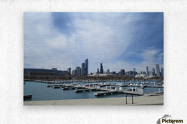 View of Burnham Harbor from Northerly Island  VP4  Metal print