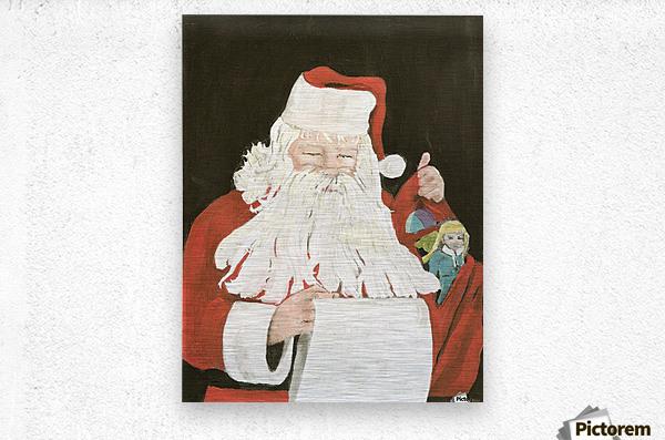 Santa making his list  Metal print
