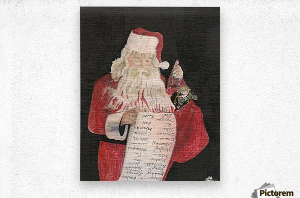 Santa Checking His List  Metal print