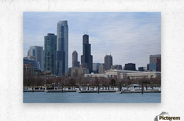 View of Chicago From Northerly Island VP2  Metal print