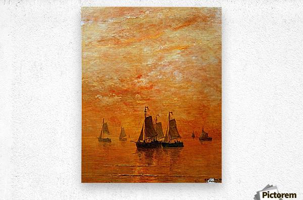 Ships on sunset  Metal print