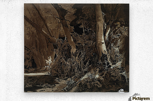 Forest landscape with flowing water and two hunters  Impression metal