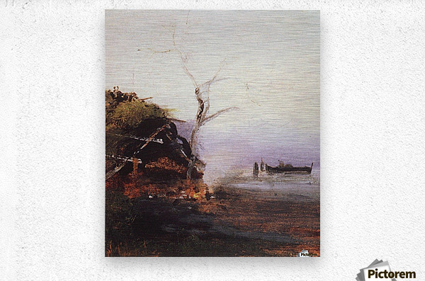 Russian landscape and Rook  Metal print