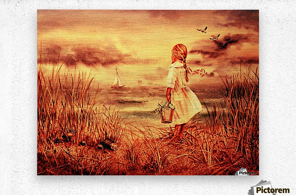 Girl At The Ocean Vintage Style  Metal print