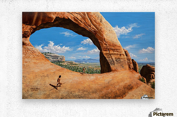 Discoverers of Wilson Arch  Metal print