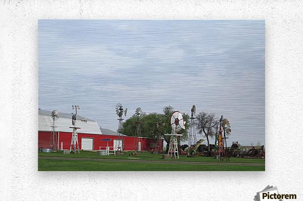 Windmills in Elk City, OK  Metal print