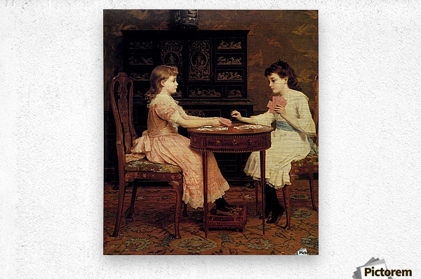 Two girls playing cards  Metal print