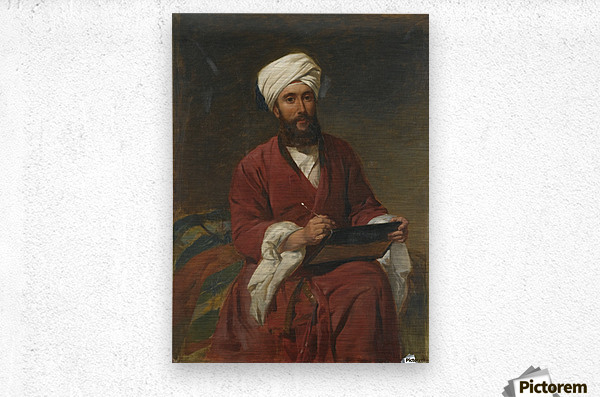 An Oriental man writing  Metal print