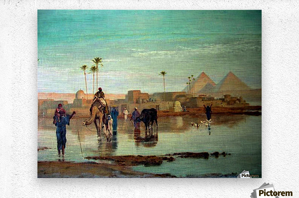 Crossing the river with the camels  Metal print