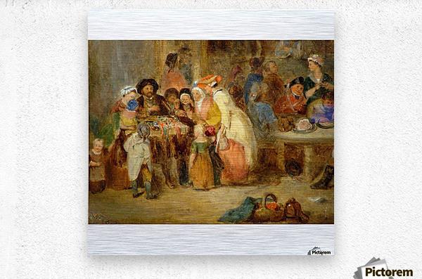 Antique oil painting  Metal print