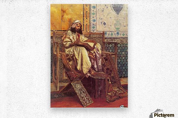 An Oriental man reading  Metal print