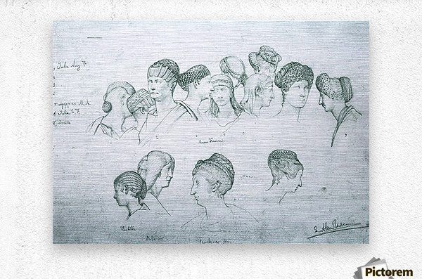 Sketch of hairstyles from ancient sculptures by Alma-Tadema  Metal print