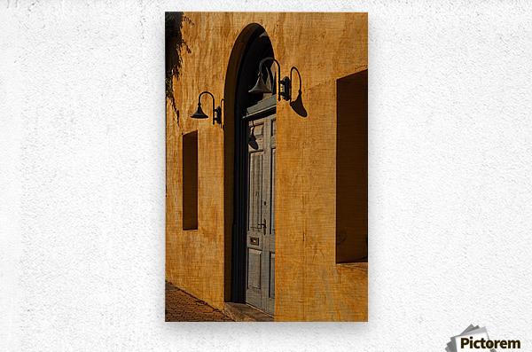 Blue Door in a Orange Wall  Metal print