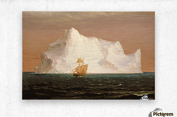 A boat sailling to an iceberg  Metal print