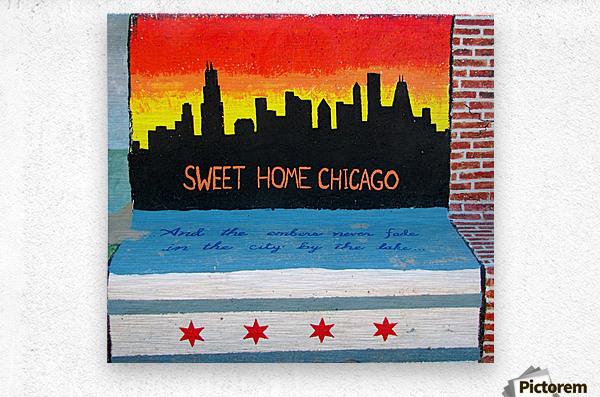 Chicago - Bench Art in Rogers Park  Metal print