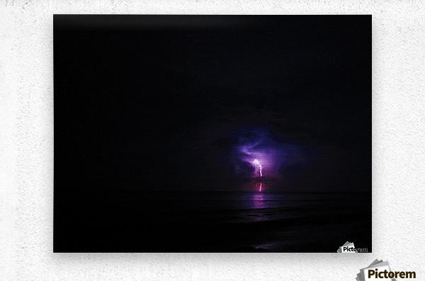 Lightning up the Sea  Metal print