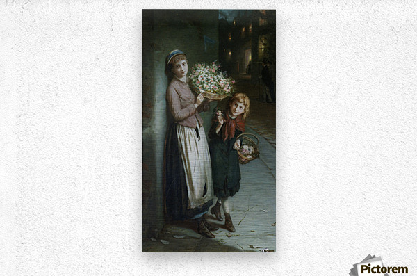 Two girls selling flowers  Impression metal