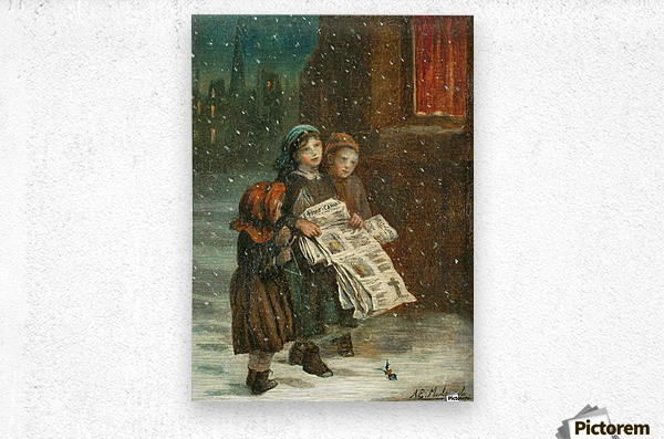 Small children with newspapers  Impression metal