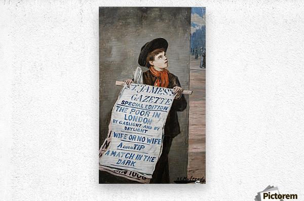 A small boy advertising the news  Metal print