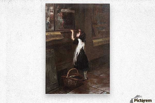A girl in a black dress  Impression metal