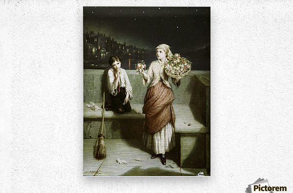 Selling flowers and sweeping the streets  Metal print