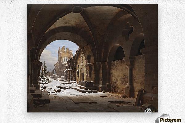 Blick auf die Kirchenruine im Winter  Metal print