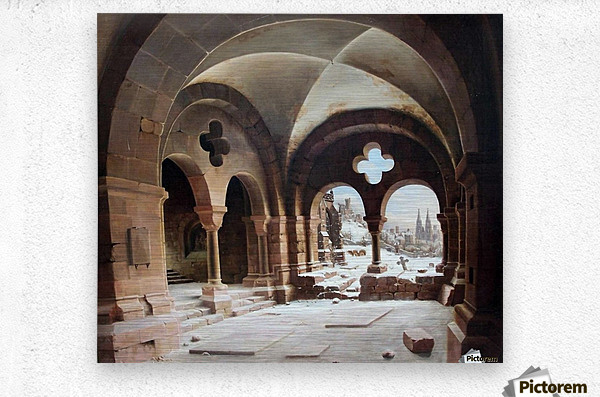 Abbey Cloister in Winter  Metal print