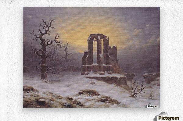 Church Ruine in the Snow  Metal print